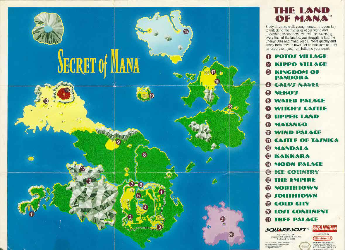 Secret of Mana   World Map